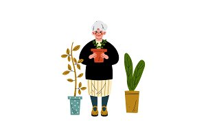 Elderly Woman Caring for Plants