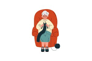 Senior Woman Sitting in Armchair