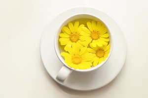 Yellow Flowers, Cup Of Tea