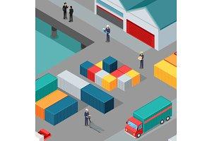 Cargo Port Vector Concept in
