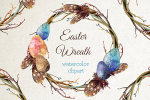 Watercolor Easter Wreath Clipart