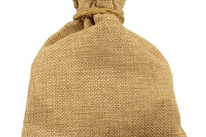 Isolated Burlap Bag