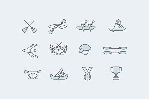 12 Rowing Icons