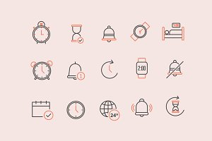15 Time Alarm Notification Icons