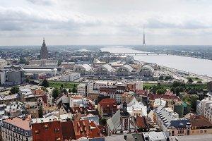 Old town,Daugava river. Riga, Latvia