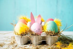 Cute and funny easter eggs in a egg