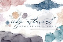 Inky Ethereal Procreate Stamps by  in Brushes
