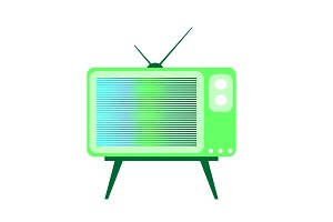 Retro TV neon green color isolated v