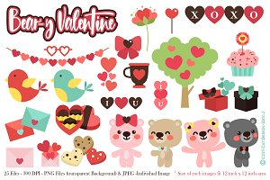 Beary Valentine Digital Clip Art