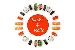 Set of sushi, maki and rolls