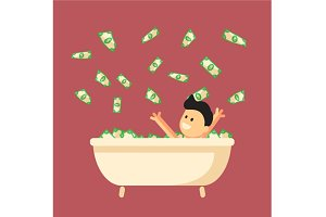 Money bath in flat design
