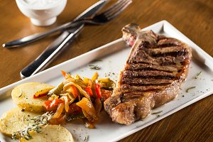 Entrecote steak meat with grilled ve