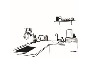 Kitchen furniture sketch. Hand drawn