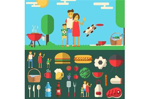 Family barbeque banner with objects