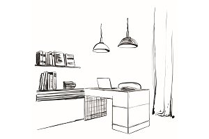 Workspace office sketch. Furniture