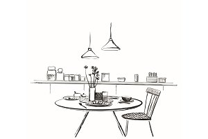 Modern interior illustration. Cozy