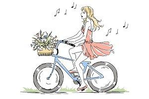Girl riding bike&#x3B; Bicycle