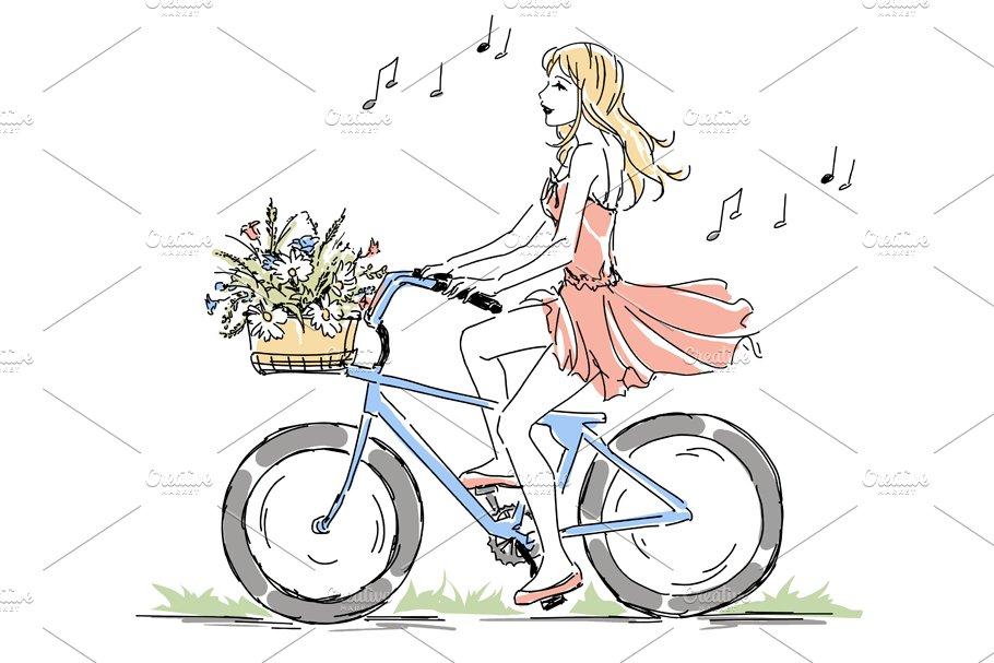 Girl Riding Bike Bicycle Illustrations Creative Market