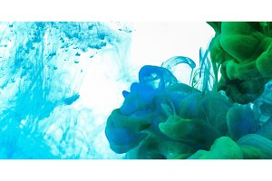 Green and blue mixtture ink in water