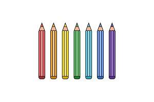 Line rainbow pencil set