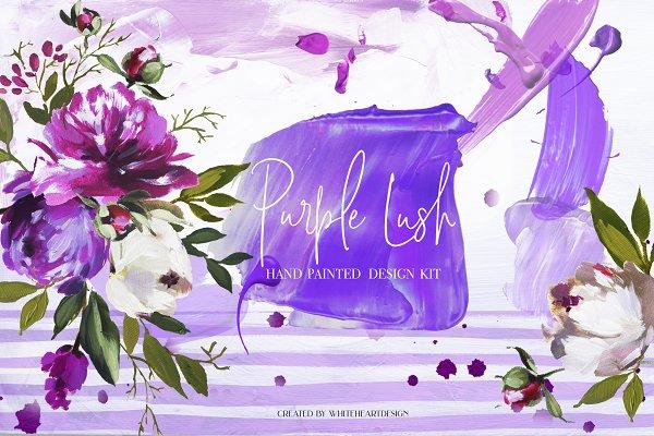 Purple Lush Floral Clip Art Kit