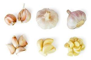 Set of whole garlic, halves, peeled