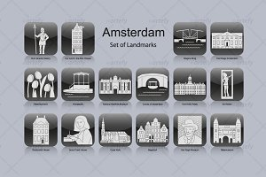 Amsterdam landmark icons (16x)