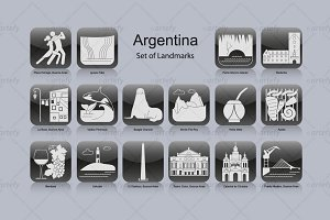 Argentina landmark icons (16x)