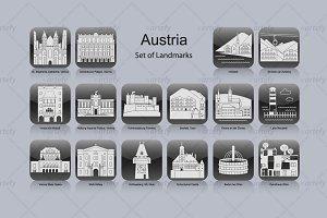 Austria landmark icons (16x)