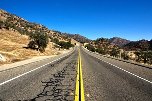 Road in California with blue sky