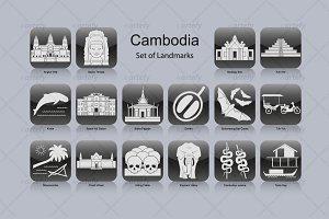 Cambodia landmark icons (16x)