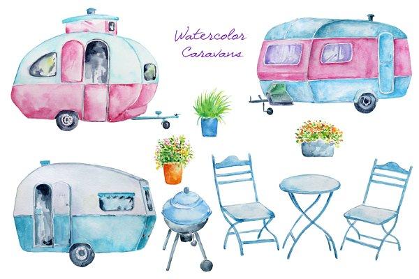 Watercolor Clipart Caravan