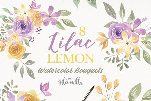 Watercolour Flowers Purple Lemon Kit
