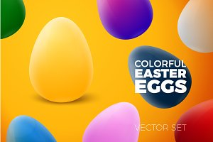 Vector 3D realistic easter eggs