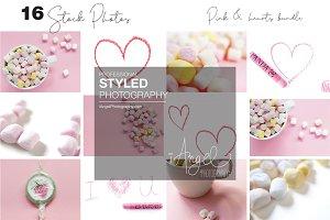 Pink, hearts & Crayons stock photos