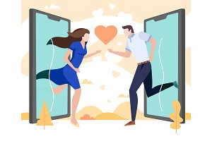 Couple in love run to each other
