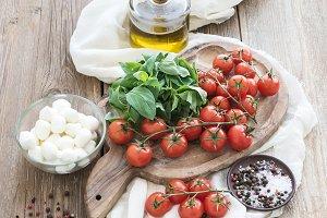 Basil, tomatoes, mozzarella