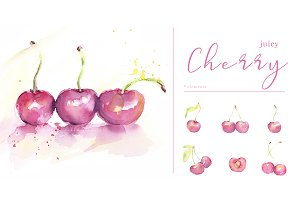 Watercolor juicy cherry clipart