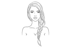 Fashion woman portrait, vector