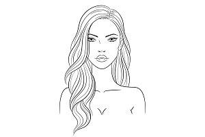 Fashion woman portrait, vector