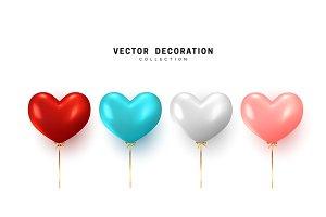 Set Balloon heart shape
