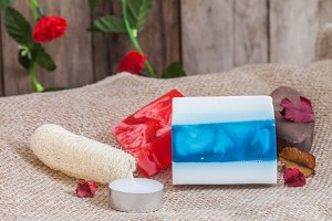 Homemade soap and luffa