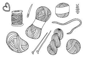 -50% OFF! Yarn balls hand drawn set