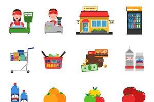 Supermarket flat icons set
