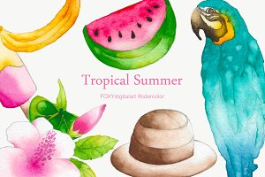Watercolor summer tropical clipart