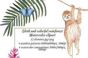 Watercolor Sloth and rainforest