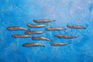 Seafood. Small sea fish, anchovies.
