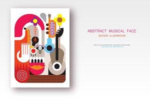 Abstract Musical Face vector artwork