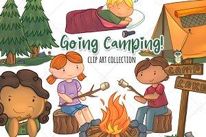 Cute Kids Camping Clip Art