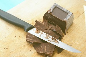 Cutting dark chocolate